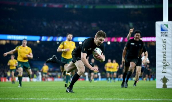 Try-time:  Beauden Barrett scores the All Blacks third try.