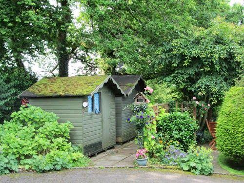 secret garden shed green roof
