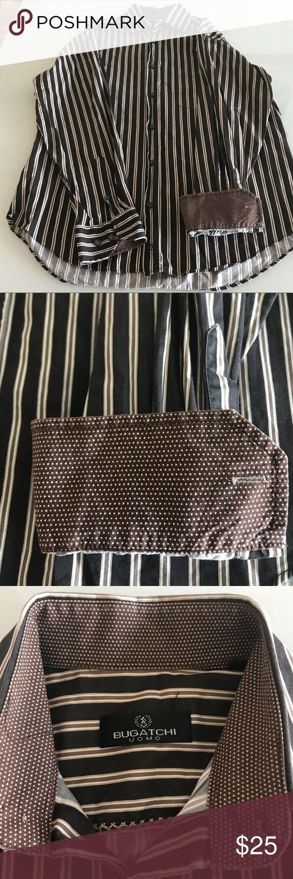 Men's Bugatchi Shirt Brown striped shirt  Spread collar Contrast flip-up cuff Size M 100% cotton Excellent condition Bugatchi Shirts Casual Button Down Shirts