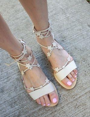 ba10746eb768 Starla Gold Leather Ankle Wrap Flat Gladiator Sandal