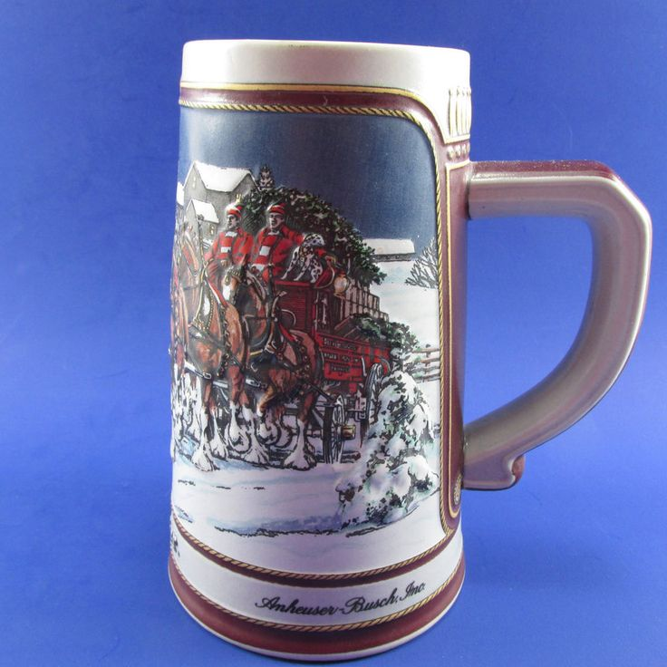 1989 Budweiser Beer Mug Stein Holiday Clydesdales Horses Unused Anheuser Busch #AnheuserBusch