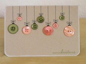 Kerst kaart met knoopjes als kerstballen