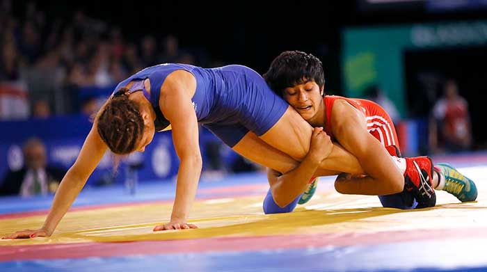 Indian teenager Vinesh Phogat then made it a double delight as she registered a thrilling 11-8 win over England's Yana Rattigan to clinch the gold medal in the women's freestyle 48kg wrestling competition.