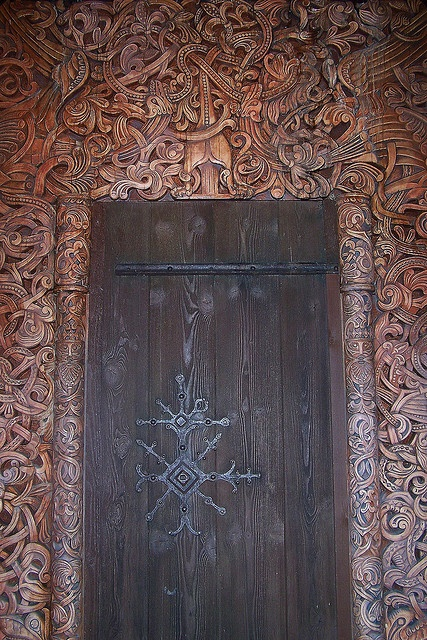 Very intricate doorway! Viking Long house door. Norway, Epcot Center - a photo on Flickriver