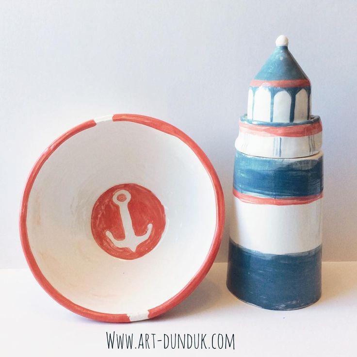 Стакан-маяк и тарелочка с якорем. По-моему красивый комплект;) #стакан #якорь #море #маяк #дундук #посуда #дизайн #стиль #интерьер #декор #оригинальныйподарок #керамика #глина #посуда #красный #синий #бирюзовый #чашка #миска #мисочка #пиала #ceramic #handmade #decor #dish #design #bowl #lighthouse #glasslightouse #dunduk