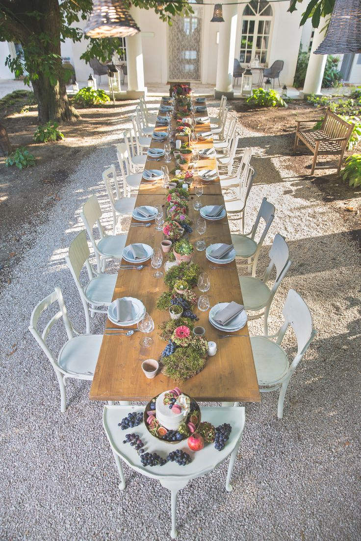 Lovely vintage style wedding table in the garden