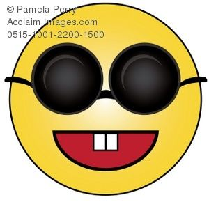 Clip Art Illustration of a Cartoon Smiley Face Wearing Sunglasses