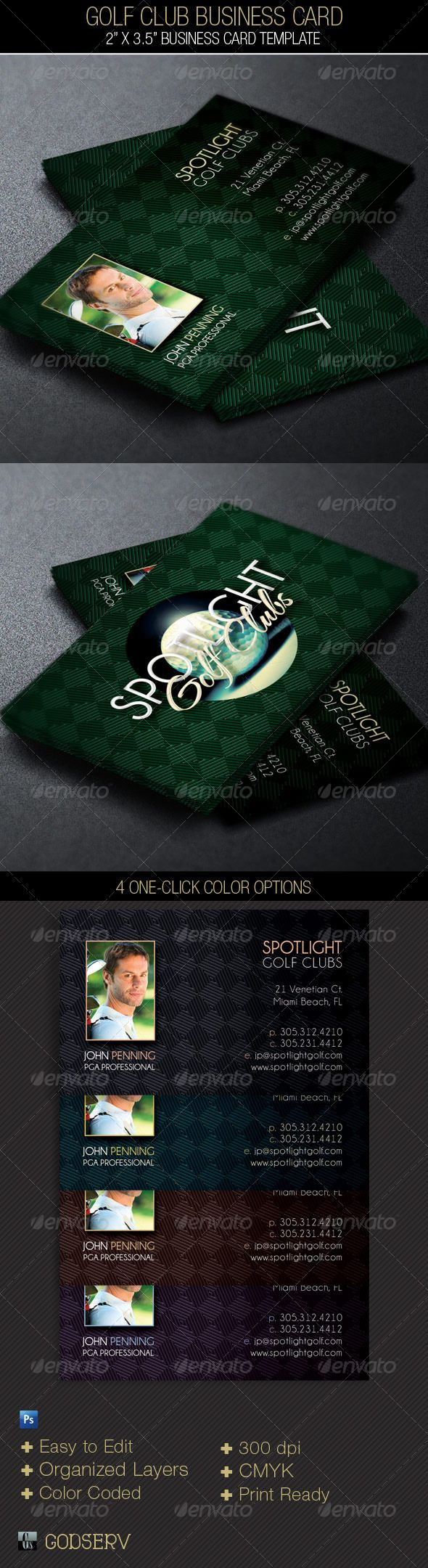 The Golf Club Business Card Template is for a modern Golf Club, Professional Golf Instructor, PGA Professional or Hobby Player. The template can also be used for other sports with simple edits. Make it part of your arsenal in your template database. Sold exclusively on graphicriver.net. $6.00