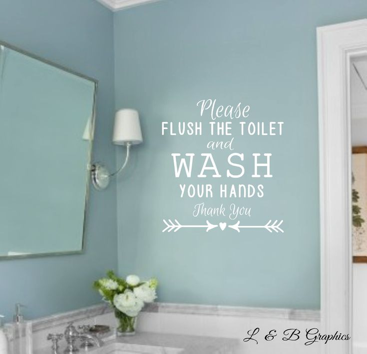 bathroom decal please flush the toilet and wash your hands vinyl wall decal bathroom decor vinyl wall decal bathroom humor - Wall Vinyl Designs