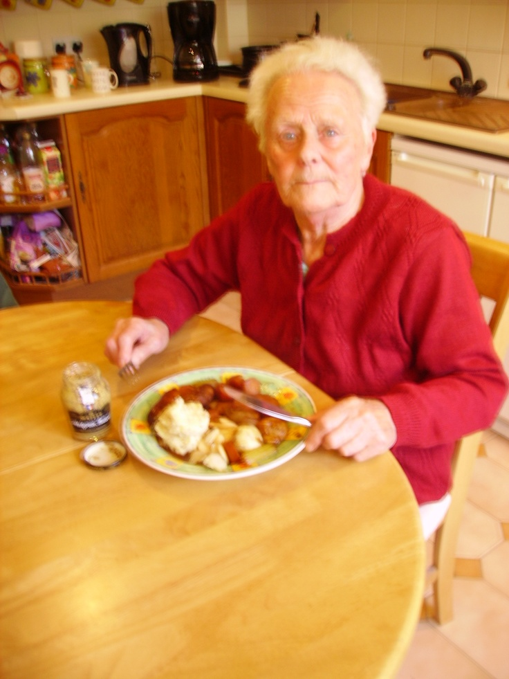 My mum Daphne eating her mustard mash with Sausdage casserole, just add butter and a couple of dollops of Maille mustard to your mash to taste!