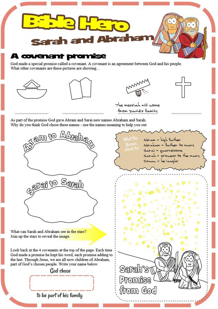 Worksheet for Sarah and Abraham - Covenant promise - Genesis 17 #jesuswithoutlanguage
