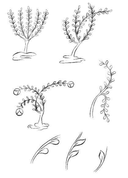 Cahide Keskiner - Minyatür Sanatında Doğa Çizim ve Boyama Teknikleri Selçuklu dönemi minyatürlerinde ağaç çizimlerinin aşamalı olarak gösterilmesi Gövdeden çıkan dalların gidişi ve ikinci aşamada yapraklandırılması