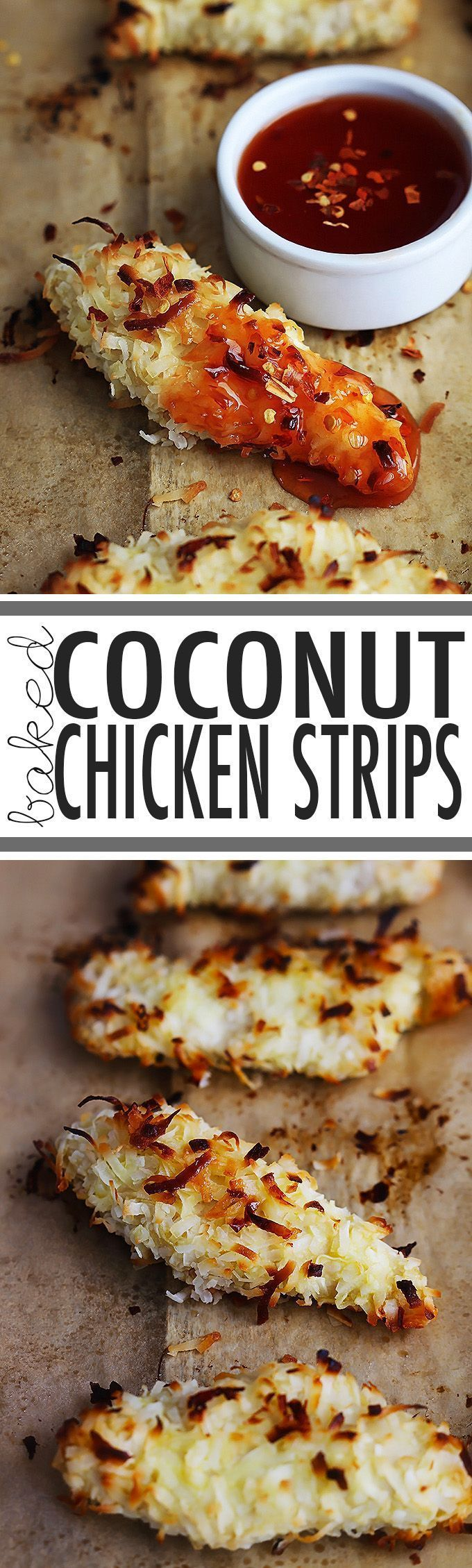 Tender chicken strips coated in sweet coconut flakes and baked til crispy!