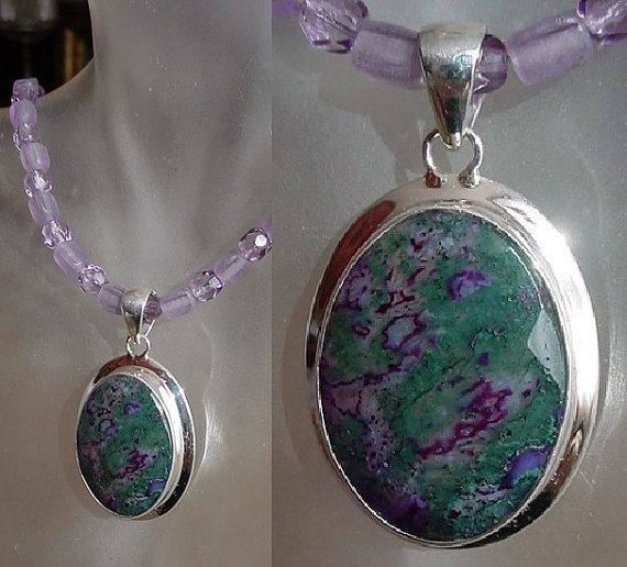 Zoisite Removable Pendant in Sterling Silver Frame c/w by camexinc