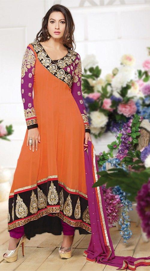 Gauhar Khan In Orange Anarkali Suit BR150349