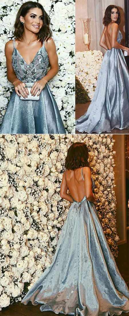 Fashion Blue Prom Dress - Spaghetti Straps Sweep Train Backless with Beading Appliques