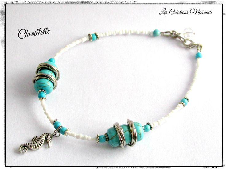 Chevillette perle rocaille verre blanc et turquoise  18$