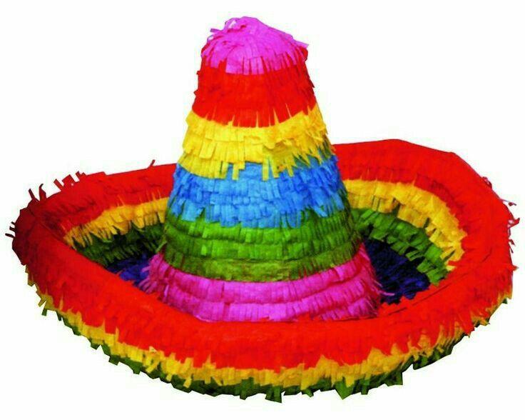 Piñata de sombrero mexicano fiesta mexicana 5 de Mayo 16 de septiembre