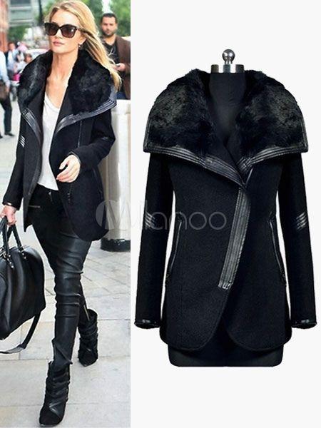 Faux Fur Laple Collar Coat