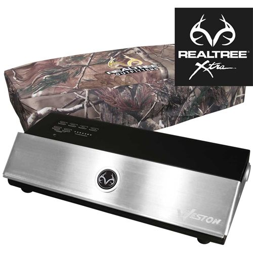 Rugged black design with brushed Stainless Steel Lid featuring the Realtree Outfitters® logo. Includes Realtree AP™ camouflage storage cover and 15 bonus Vacuum Bags: 5 pint 6 x 10, five quart 8 x 12 , five gallon 11 x 16