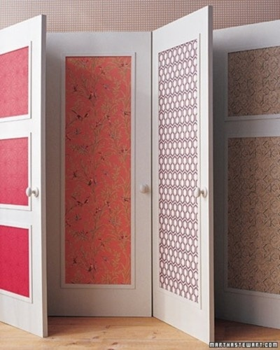 How to make those old cupboard doors cool wallpaper for Wallpaper closet doors