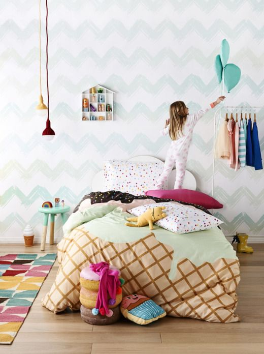 Ice cream comforter. Child's room inspiration. From The Design Files | Australia's most popular design blog.