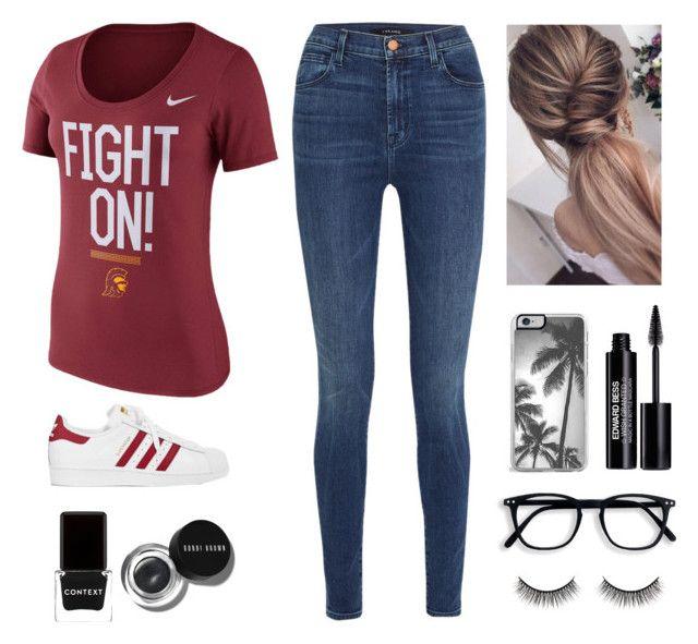 """USC College Look"" by savannahortega24 ❤ liked on Polyvore featuring NIKE, J Brand, adidas, Context, Edward Bess, Bobbi Brown Cosmetics and Battington"