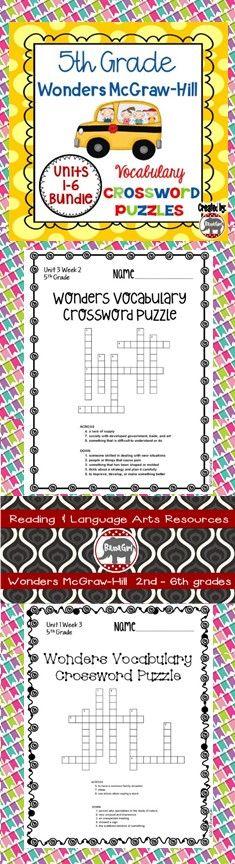 5th Grade Wonders McGraw Hill Vocabulary Crossword Puzzles - Units 1-6 Bundle #bamagirltpt