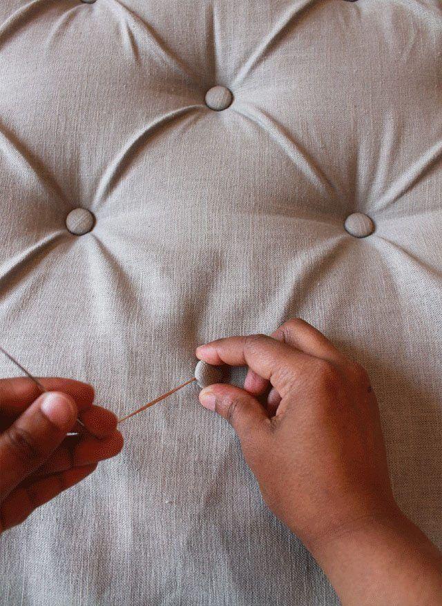 como hacer cabeceros de cama poner boton forrado