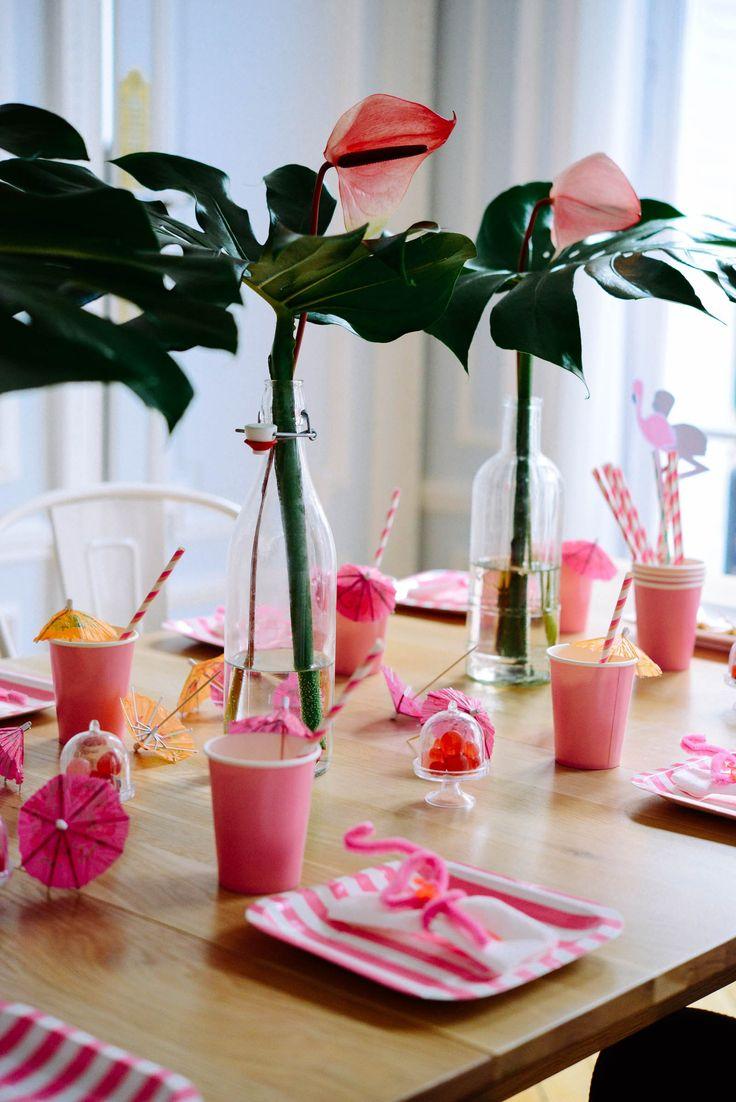 déco tropicale pour anniversaire  déco tropicale pour fête anniversaire flamant rose