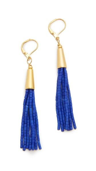 Seed-bead tassels add a playful touch to these lever-back Shashi earrings.