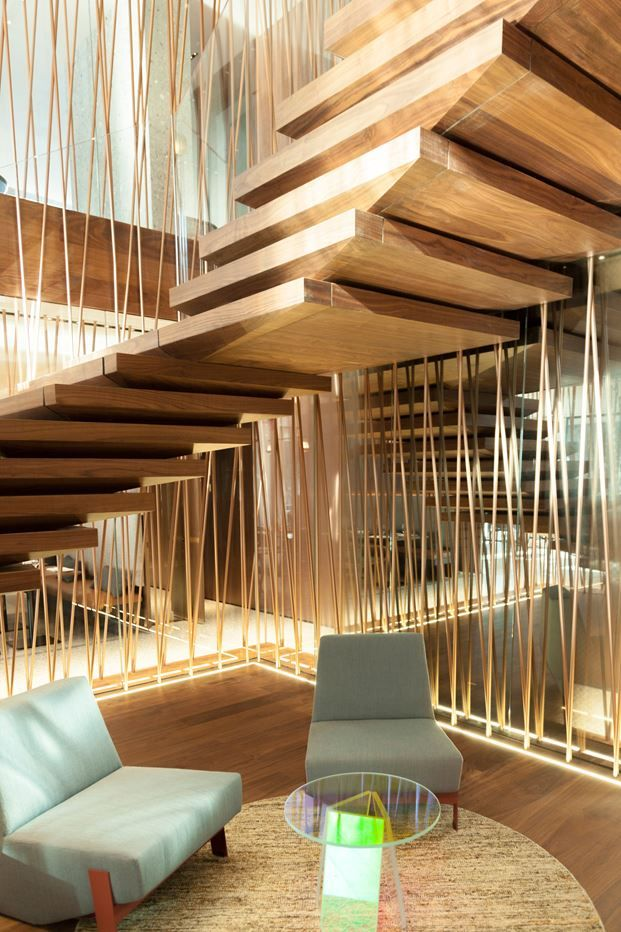 Designed by Patricia Urquiola, contemporary Hotel il Sereno, situated in the beautiful landscape of the Lake of Como, includes an entirely custom-made #wooden #staircase by Fontanot, which blends harmoniously with the interior decor