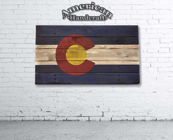 wooden colorado flag