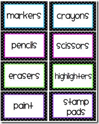 Classroom Organization: FREE: Polka dot classroom labels... This had everything I needed