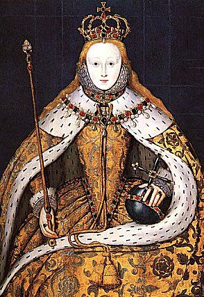 The 'Coronation Portrait' of Elizabeth I; late 16th copy of a lost original - I could see Del starting in something like this and then it going wonky