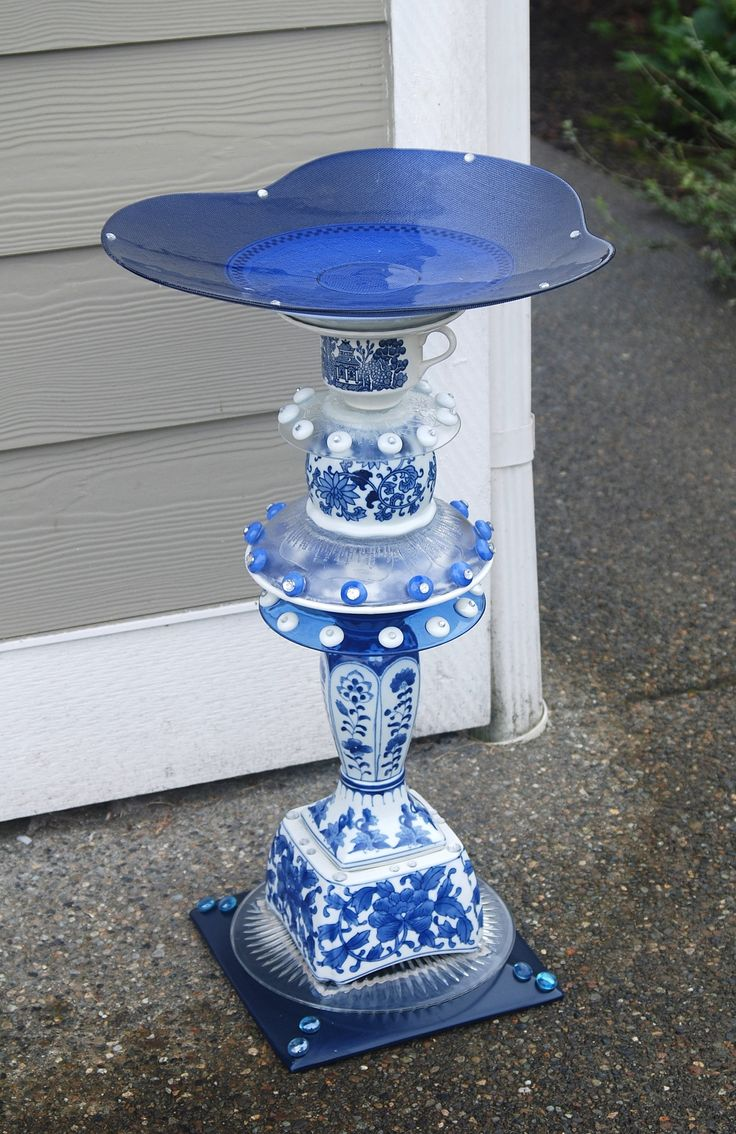 SOLD - recycled glass, birdbath created by Karen Talbot Asian glass, some authentic, top bowl unique and shallow, perhaps better as a feeder