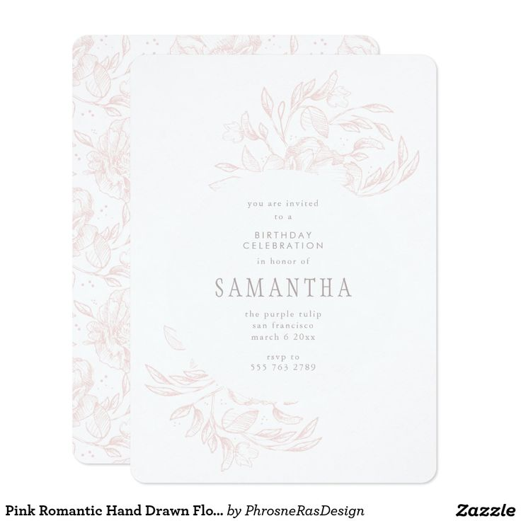 Pink Romantic Hand Drawn Floral Frame Invitation #zazzle #invitation #stationery #tabletop #flowers #floral #organic #original #illustration #designer #suite #elegant #stylish #phrosneras #phrosnerasdesign #calligraphy