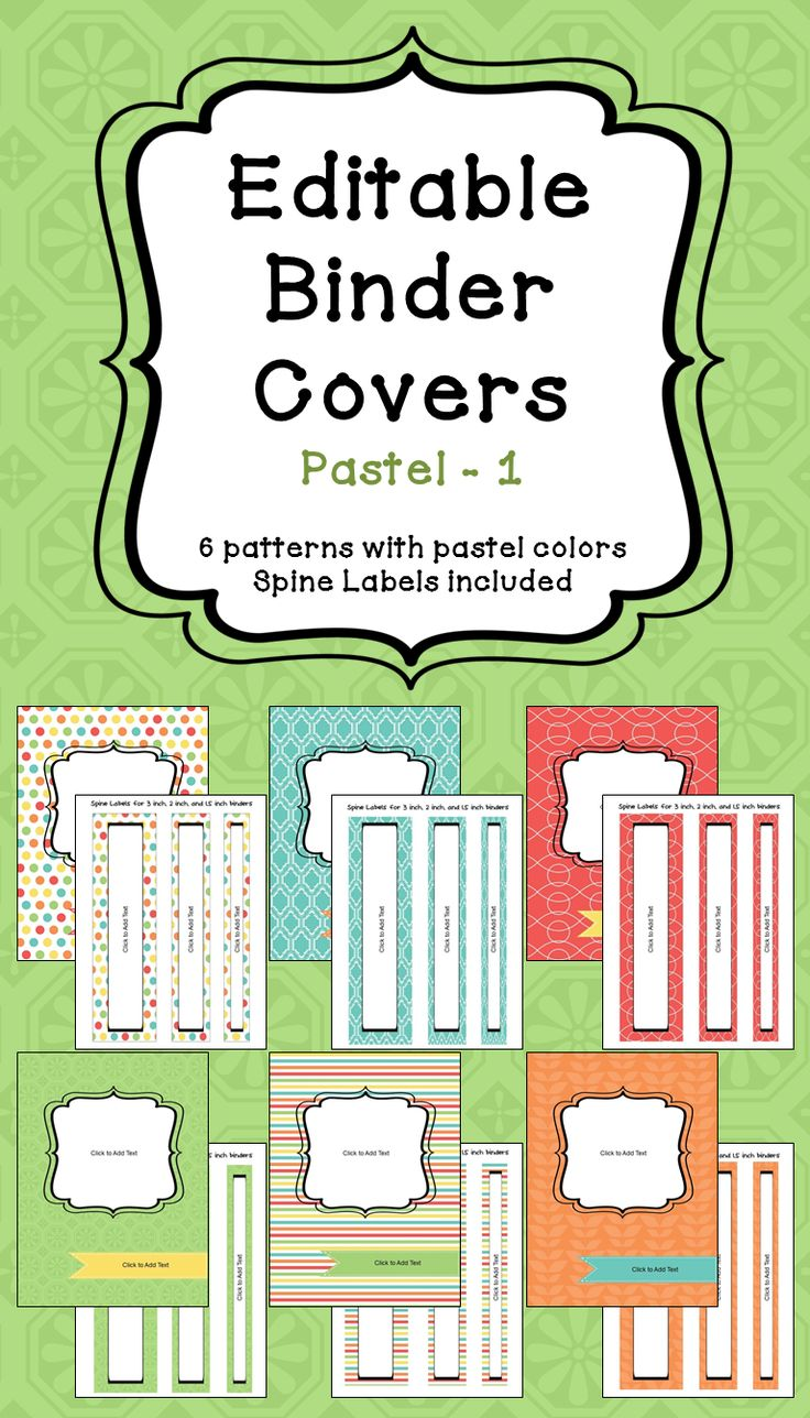 "Organize your classroom with these 6 different designs of editable binder covers. Each cover comes with matching spine labels for 3"", 2"" and 1.5"" binders.  To edit the binder covers and spine labels, simply click where it says ""click to add text."" You can edit the text size, color, and location of each text box."