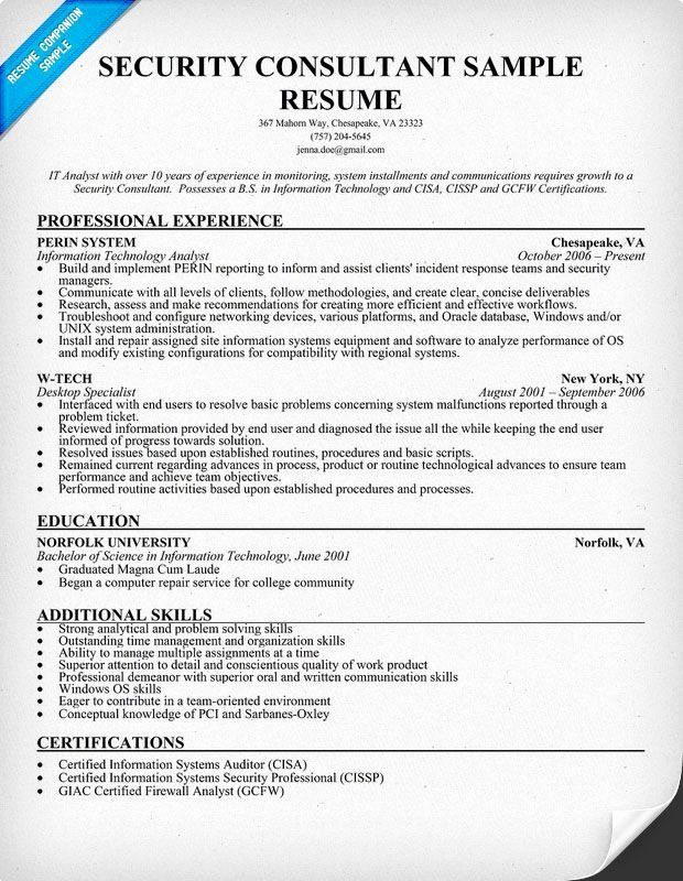 Information Technology Consultant Resume New Security Consultant Resume Sample Security Resume Job Resume Samples Resume