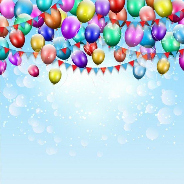 Aniversário balões cor de fundo Vetor grátis