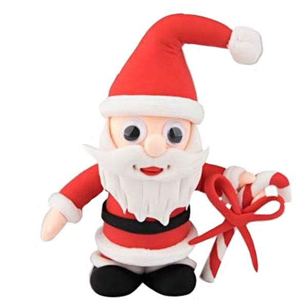 Create Santa holding a candy cane, from the Christmas Funny Friends range, out of air drying Silk Clay® using the simple picture instructions.  These kits are great fun for children and include everything you need.