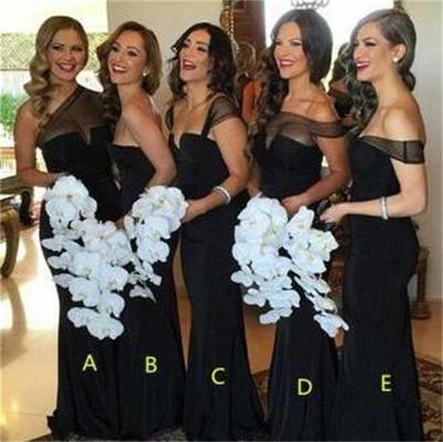 Sexy Sheath Black Cheap Bridesmaid Dresses Long Tulle Bridesmaid Dresses,Wedding Party Dresses,BD17226