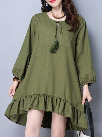 Vintage Long Sleeve Pure Color Women Mini Dresses