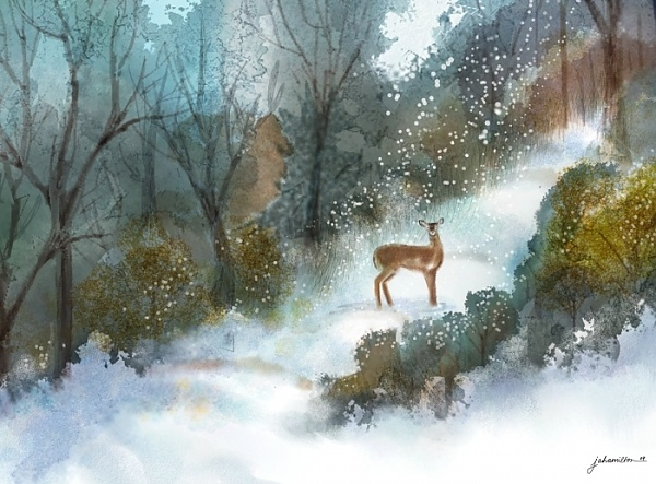 """A Gentle Moment"" - Digital watercolour, in Snowy Landscapes"
