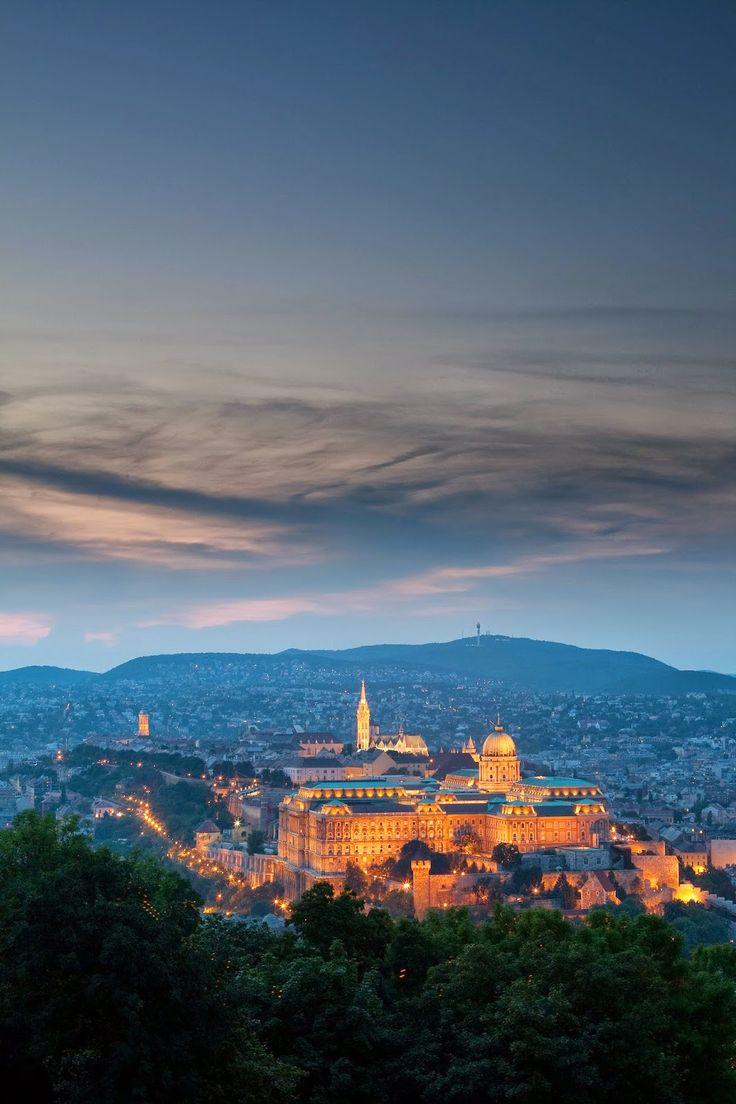 Buda Castle seen from Gellért Hill - Gellért Hill, Budapest, Hungary