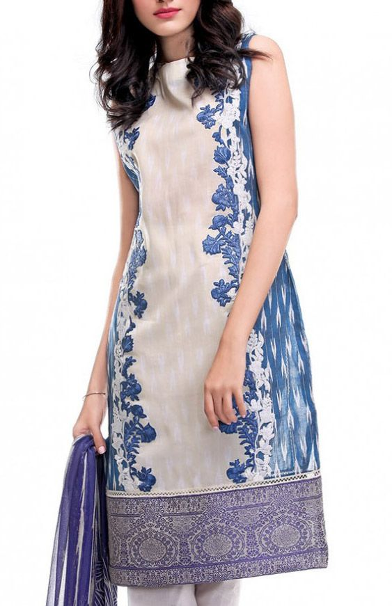 Buy Off-White/Blue Embroidered Cotton Lawn Dress by Rungrez Lawn Collection 2015.