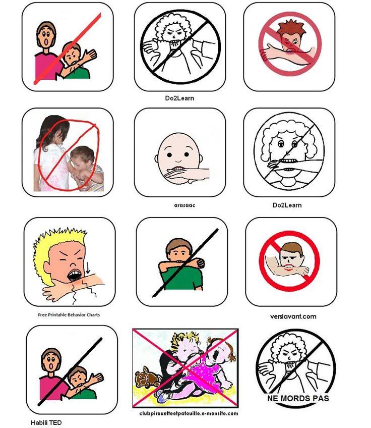 Comportement pictogrammes ne pas mordre habilet s sociales r gulation motionnelle etc - Regles qui sentent mauvais ...