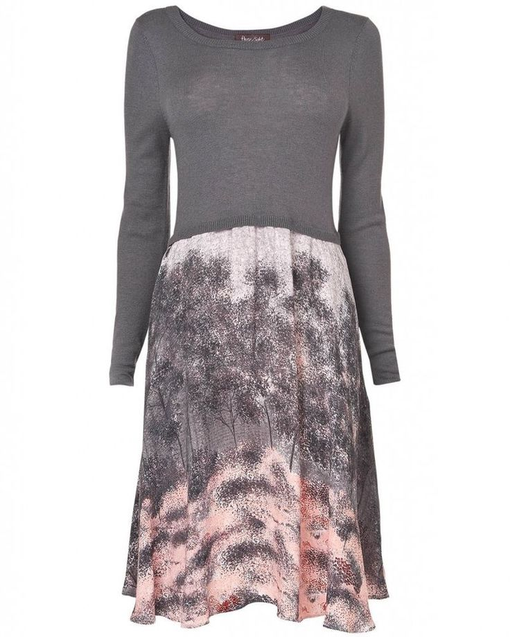 NEW Phase Eight Shadow Tree Print Jumper Dress Skirt Grey Pink 10 12 14 16 18