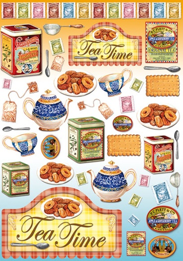Decoupage Paper Tea and biscuits