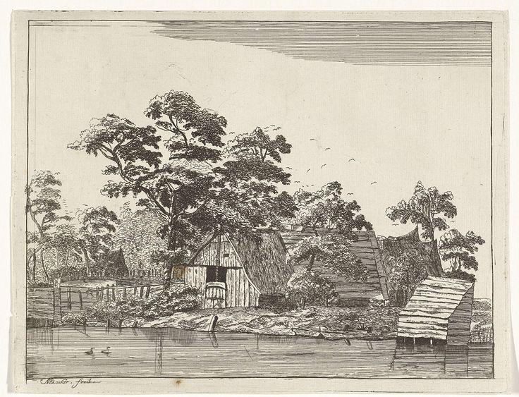 Anna Maria de Koker | Huizen aan een vijver, Anna Maria de Koker, 1640 - 1698 | Aan een vijver, waar twee eenden zwemmen, ligt een houten huis met rechts daarvan in het water een schuurtje. Op de achtergrond is een aantal huizen tussen het geboomte te zien en in de lucht vliegen vogels.